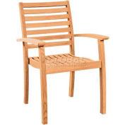 Hi-Teak Outdoor Royal Stacking Armchairs, Unfinished Teak Wood - Pkg Qty 4