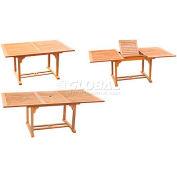 Hi-Teak Outdoor Rectangular Extension Table, Unfinished Teak Wood