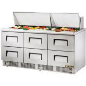 """True® TFP-72-30M-D-6 Sandwich/Salad Unit - 72.13""""W  X 31-1/2""""D  X 45-3/4""""H"""
