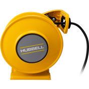 Hubbell ACA12325-DR20 Industrial Duty Cord Reel w/ GFCI Duplex Outlet Box - 12/3c x 25', Aluminum