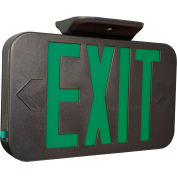 Compass Lighting CAGB LED Exit, Black with Green LEDs, Universal Face, AC Only, 120-277V