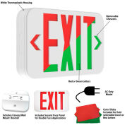 Hubbell LED Exit Sign with Field Selectable Red or Green LEDs, Nicad Battery, White, 120/277V