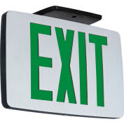 Hubbell CCEDGE LED Die-Cast Thin Exit, Brushed Face, Black, Dual Face, Green Letters, w/Battery