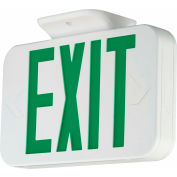 Hubbell LED Exit Sign with Self-Diagnostics, Nicad Battery, White with Green Letters, 120/277V