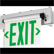 Hubbell CELR2GNE LED Edge-Lit Exit, Double-Face, Green Letters, Recessed Mount, w/ Battery Back-up