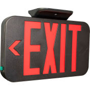 Hubbell CERB LED Exit Sign, Red w/ Black Housing, Battery Back-up