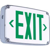 Hubbell CEWDGE LED Wet Location Exit Sign, Double Face, Green w/ Nickel Cadmium Battery