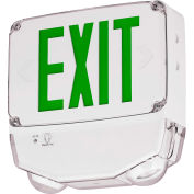 Hubbell CWC1GW-CT LED Combo Exit/Emerg Light, Wet Listed, Green Letters, White, One Face, Cold Temp.