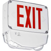 Hubbell CWC2RW-CT LED Combo Exit/Emerg Light, Wet Listed, Red Letters, White, Dual Face, Cold Temp.