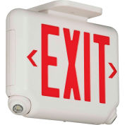 Hubbell EVCURW Compact LED Combo Unit, White w/ Red Letters
