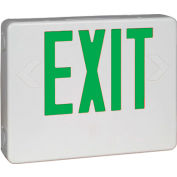 Hubbell HCXUGW Designer LED Combo Exit/Emergency Unit w/ Side-Mount Heads, White, Green Letters