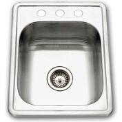 Houzer 1722-7BS-1 Drop In Stainless Steel 3-Holes Bar/Prep Sink