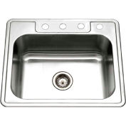 Houzer 2522-8BS4-1 Drop In Stainless Steel 4-Holes Single Bowl Kitchen Sink