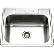 Houzer 2522-9BS3-1 Drop In Stainless Steel 3-Hole Single Bowl Kitchen Sink