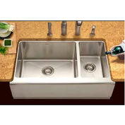 Houzer EPO-3370SR Apron Front Farmhouse Stainless Steel 70/30 Double Bowl Sink