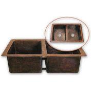 Houzer HW-CHA12 Hammerwerks Undermount Copper 50/50 Double Bowl Kitchen Sink, Antique Copper