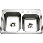 Houzer ISL-3322BS3-1 Drop In Stainless Steel 3-Hole 60/40 Double Bowl Sink