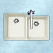 Houzer M-175U CLOUD Granite Undermount 60/40 Double Bowl Kitchen Sink, White