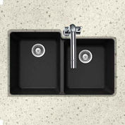 Houzer M-175U MIDNITE Granite Undermount 60/40 Double Bowl Kitchen Sink, Black