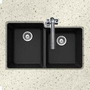 Houzer M-175U MIDNITE Granite Undermount 60/40 Double Bowl Kitchen Sink, Black