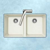 Houzer M-200U CLOUD Granite Undermount 50/50 Double Bowl Kitchen Sink, White