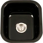 Houzer PCB-1750 BL Porcelain Enamel Steel Undermount Bar/Prep Sink, Black