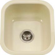 Houzer PCB-1750 BQ Porcelain Enamel Steel Undermount Bar/Prep Sink, Biscuit