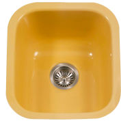 Houzer PCB-1750 LE Porcelain Enamel Steel Undermount Bar/Prep Sink, Lemon