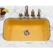 Houzer PCG-3600 LE Porcelain Enamel Steel Undermount Large Single Bowl, Lemon