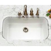 Houzer PCG-3600 WH Porcelain Enamel Steel Undermount Large Single Bowl, White