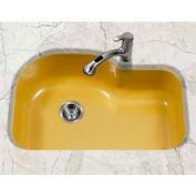 Houzer PCH-3700 LE Porcelain Enamel Steel Undermount Offset Single Bowl, Lemon