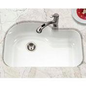 Houzer PCH-3700 WH Porcelain Enamel Steel Undermount Offset Single Bowl, White