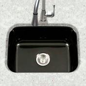 Houzer PCS-2500 BL Porcelain Enamel Steel Undermount Single Bowl, Black