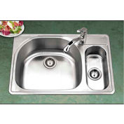 Houzer PMG-3322SR-1 Drop In Stainless Steel 1-Hole 70/30 Double Bowl Sink