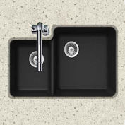 Houzer S-175U MIDNITE Granite Undermount 70/30 Double Bowl Kitchen Sink, Black