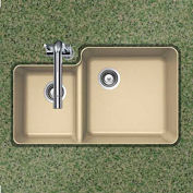 Houzer S-175U SAND Granite Undermount 70/30 Double Bowl Kitchen Sink, Sand
