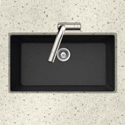 Houzer V-100U MIDNITE Granite Undermount Large Single Bowl Kitchen Sink, Black