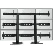 """TygerClaw LVW8610 9 Monitor TV Stand for 30""""-60"""" TVs - Black"""
