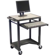 "Tuffy Mobile Computer Workstation w/Cutout - 24""W x 18""D x 33""H Black"