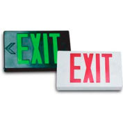 Howard Lighting Exit Sign, 120/277V, 6V Battery, Plastic, Green Letter, White Reflector