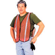 ComfitWear® Safety Nylon Vest W/ Silver Retro-Reflective Stripes, Orange, One Size - Pkg Qty 12