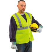 ComfitWear® Class 2 Safety Vest, Neon Yellow, PVC Coated, 2XL - Pkg Qty 12