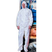 ComfitWear® Disposable Coverall, Zipper Front W/ Hood & Boots, White, 4XL, 25/Pack