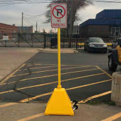 Ideal Shield® Pyramid Sign Base With Wheels & 98'H Post, Yellow