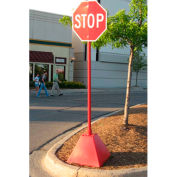 "Ideal Shield® Pyramid Sign Base with 98""H Post, Red, 22""W x 22""D x 22""H Base"