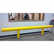 "Ideal Shield® Heavy Duty One-Line Guardrail, Steel & HDPE Plastic, Yellow, 48"" x 14-3/4"""