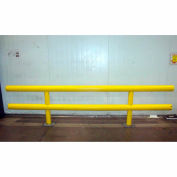 "Ideal Shield® Heavy Duty Two-Line Guardrail, Steel & HDPE Plastic, Yellow, 48"" x 36"""
