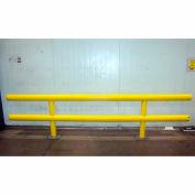 "Ideal Shield® Heavy Duty Two-Line Guardrail, Steel & HDPE Plastic, Yellow, 144"" x 27"""
