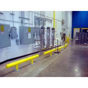 """Ideal Shield® Standard One-Line Guardrail, Steel & HDPE Plastic, Yellow, 96"""" x 14-3/4"""""""
