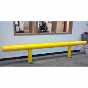 """Ideal Shield® Standard One-Line Guardrail, Steel & HDPE Plastic, Yellow, 120"""" x 36"""""""